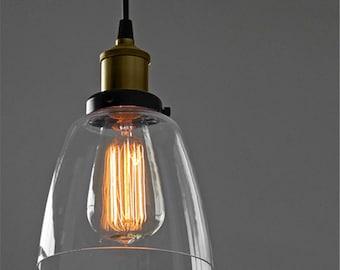 Glass bell pendant light edison antique lamp kitchen island ceiling fixture rustic lighting brass socket glass shade - Hangout Lighting
