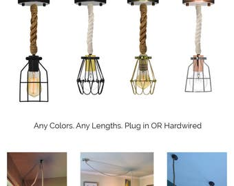 Manila Rope Cage Pendant Light- Modern Industrial Chandelier- Rustic Lighting Hardwired or Plug In - Lamp Guard Industrial Pendant