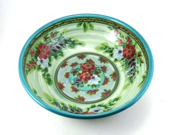 Blue Porcelain Serving Bowl - Large Ceramic Serving Dish with Flower Design - OOAK
