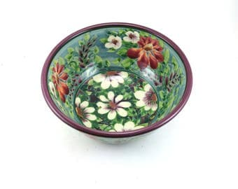Ceramic Bowl - Blue Porcelain Floral Pottery Bowl with Red and White Flowers - OOAK