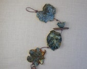 Ceramic Leaf Wall Decoration - Blue Bird on Clay Branch - Made with Three Real Leaves - Decorative Leaf String - Leaf Impression Patterns