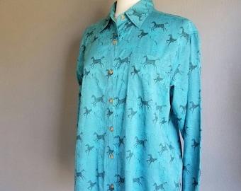 Vintage 90s HORSE Print Button Up Shirt (m-l)