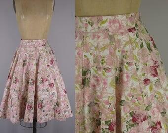 1950s Vintage Skirt / 50s  Floral Flocked Cotton Skirt / 16 Gored Panel Skirt