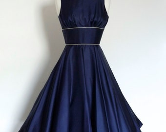 Navy Silk Twill Swing Dress - Made by Dig For Victory