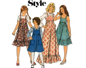 70s Girls Flounced Maxi Dress Style 1482 Vintage sewing Pattern Size 8 Breast 27 inches
