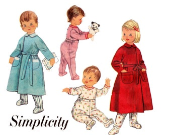 Simplicity 2290 Toddlers Footed Pajamas & Robe 50s Vintage Sewing Pattern Size 2 Chest 21 Inches