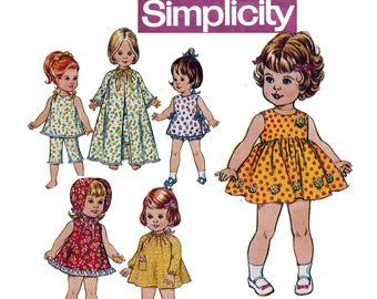 18 inch Doll's Clothes Pattern Simplicity 5721 Vintage Sewing Pattern 70s Doll Wardrobe Dresses Smock Pants Pajamas etc