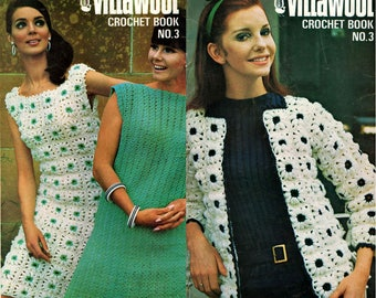 Villawool No 3 Vintage 70s crochet booklet 12 Boho Spring designs for women DRESSES JACKETS COATS Etc Great Hippie Designs