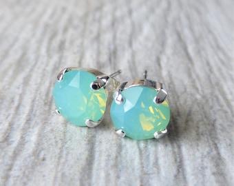Seafoam Opal Blue Swarovski Stud Earrings, Crystal Rhinestone Stud Earrings, Prism Post Earrings, Silver Round Crystal Studs, Gift for Her