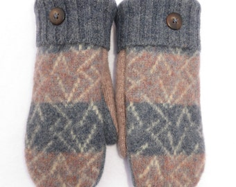 Wool Mittens from Recycled Wool Sweaters Fleece Light Blue and Tan