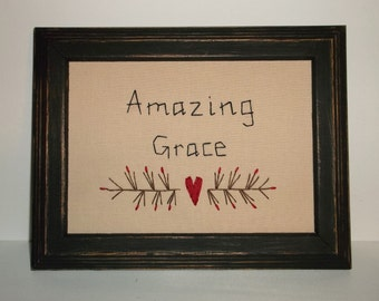 "UNFRAMED Amazing Grace Primitive Stitchery Picture for 5x7"" Church Religious Gift Idea Present God Country Home Wall Decor New wvluckygirl"
