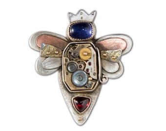 Bee Necklace, OOAK Queen Bee Who You Are pendant, Iolite and Garnet, sterling silver, watch parts and 14k accents