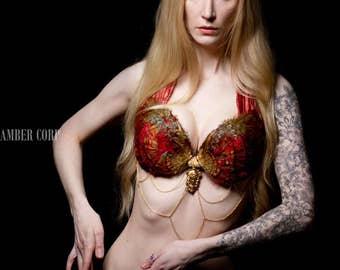 Golden Lioness Top- Adjustable Silk Straps 32-36 D
