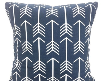 Navy Blue White Pillow Covers, Decorative Throw Pillows, Cushions, Premier Navy Blue White Arrow Pillows Couch Bed, One or More ALL SIZES