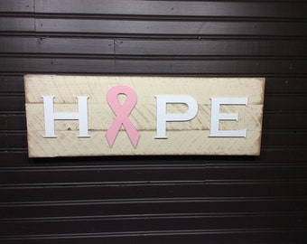 Breast cancer awareness HOPE sign, plaque