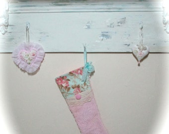 Pink Vintage Chenille Christmas Stocking