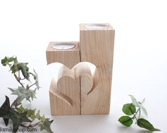 Rustic Barnwood Candle Holder with Unique Heart Design, Cute Floating Tealight Pair