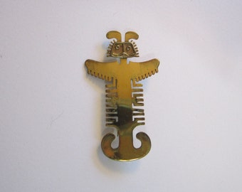 vintage pre-Columbian style brass brooch - figural brass brooch, Azteca god, Azteca, Astec
