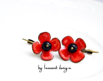 Poppy - enamel earrings with onyx- red - black - flower
