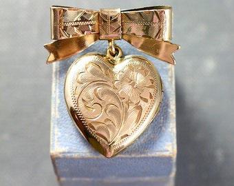 Gold Filled Locket Brooch, Small Heart Vintage 1940's Lady's Bow Pin or Necklace- Dear to My Heart