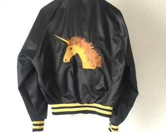 vintage UNICORN black satin 80s men's vintage jacket size medium