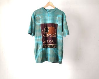 blue tie dye AFRICAN abstract 80s 90s TROPICAL short sleeve elephant t-shirt