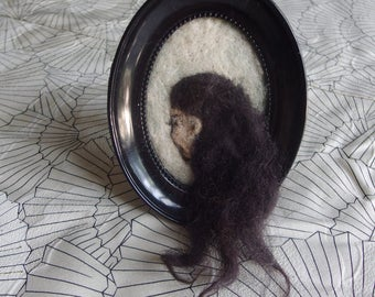 Portrait of a Woman - Needle felted 2D / 3D piece in an oval frame