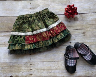 12 Month Christmas Skirt / Baby Girls Christmas Ruffle Skirt - Size 12 Months - Ready to Ship / Baby Holiday Skirt