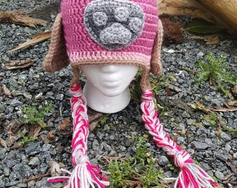 Paw patrol inspired hat, crochet hat, skye paw patrol hat, pink paw patrol hat, pink puppy hat, ears hat, skye goggles hat, paw patrol