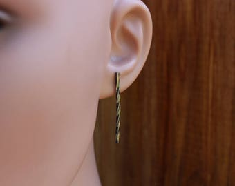 Simple light weight bar earrings, Hand forged sterling silver earrings, One of a kind