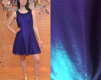 vintage 90's iridescent purple blue sparkle holographic glitter lace up skater dress size small