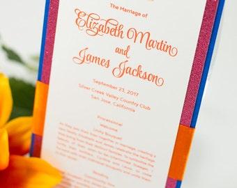 Small, Triple-Layered, Ribbon-Banded Ceremony Program Card