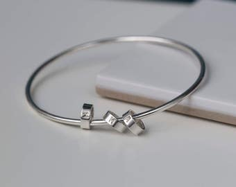 Silver bangle with initial charms bracelet with kids initials, personalised gift mum, mother of 3 gift for mothers day - Lucy