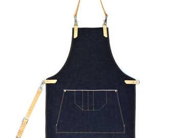 Handmade Japanese Raw Selvedge Denim & Vegetable Tanned Leather Workwear Apron