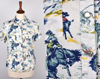 Rodeo Print Cowgirl Blouse - Bucking Broncos Print - Ranch Dressing Button Snap Top