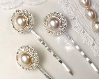 Vintage Oyster/Champagne Pearl & Rhinestone Bridal Hair Pins,Silver Taupe Pearl Art Deco Jeweled Hair Clip Set 3 4 5 6 7 8 9 Bridesmaid Gift