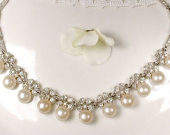 BOGOFF Art Deco Rhinestone & Glass Ivory Pearl Bridal Necklace, Vintage Wedding Statement Necklace, 1940s Great Gatsby Silver Designer
