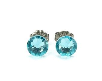 Titanium Stud Earrings Light Turquoise Swarovski Crystal Titanium Earrings, Aqua Blue No Nickel Post Earrings, Hypo Allergenic Studs