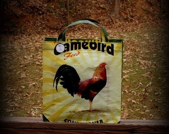 Rooster Tote Bag, Rooster Tote, Feedsack Tote, Chicken Feed Bag, Grocery Bag, Market Tote, Recycled Feed Bag, Feedsack Bag, Feed Sack Bag