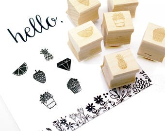 Stamp cuties - mini peg stamps - fruit slice, strawberry, pineapple, cupcake, diamond, house plant - for planners, letters, crafting