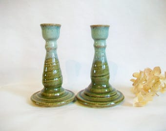 Candlestick Holders - Speckled Stoneware with  Cream over Green Glaze - Set of 2  - Handmade on the Potters Wheel - Ready to Ship