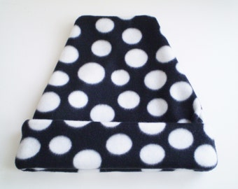 Fleece Black White Dot Cap, Fleece Black White Dots Hat, Fleece Polka Dot Cap, Fleece Polka Dot Hat, Black and White Cap