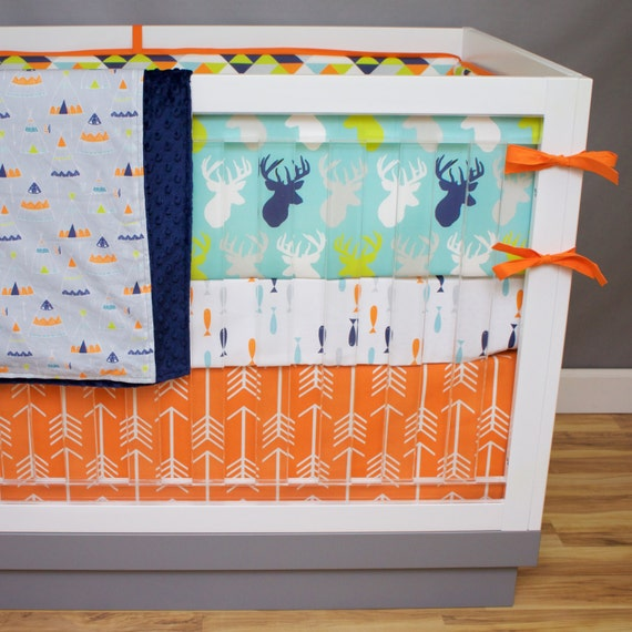 Crib bedding deer fish baby bedding buck antlers arrows for Fish crib bedding