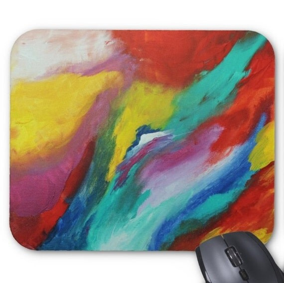 Mousepad Mouse Pad Fine Art Painting Abstract Colorful Fine Art Contemporary Modern 'Colors in Harmony' Rainbow Prismatic Amber Lamoreaux
