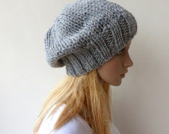 Grey Knit Hat Gray Slouchy beanie Mens Chunky Knit slouch hat Womens knit hat