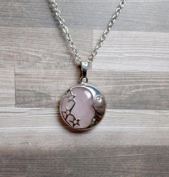 Rose Quartz Moon & Stars Necklace - Pink Moon - Gemstone Necklace - Crescent Moon Necklace