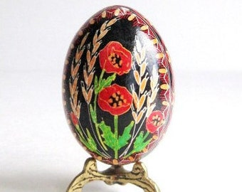 personalized gifts foe grandmother for mother's day   red Poppies Pysanka Ukrainian Easter egg hand decorated chicken egg shell with poppy