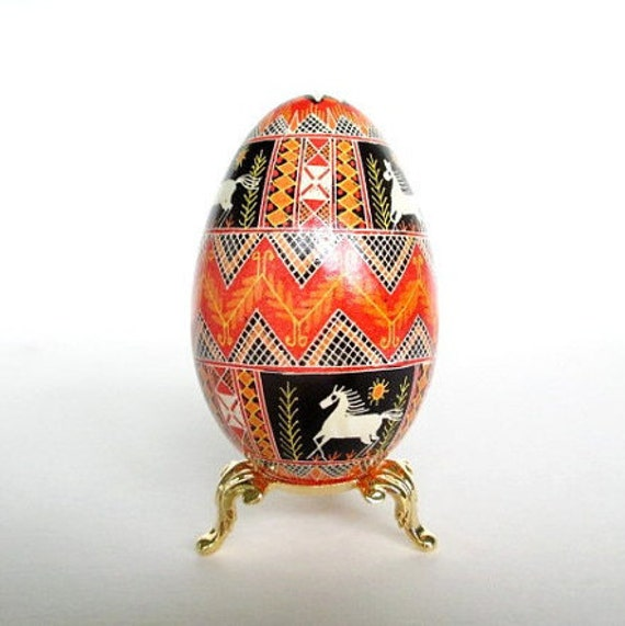 Easter egg with horses hand painted on a goose egg shell season greeting gift you can send out personalize it