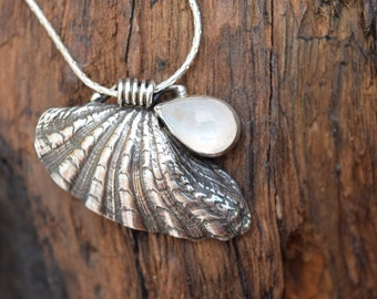 The Old Moon and The Sea - Artisan Sterling Silver and Rainbow Moonstone Necklace
