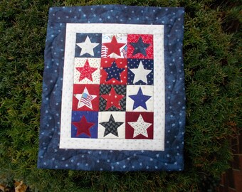 Patriotic Stars Quilted Wall Hanging